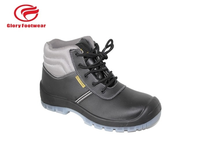Fashionable Construction Genuine Leather Safety Shoes BK Mesh / Cambrelle Lining 6 Inch