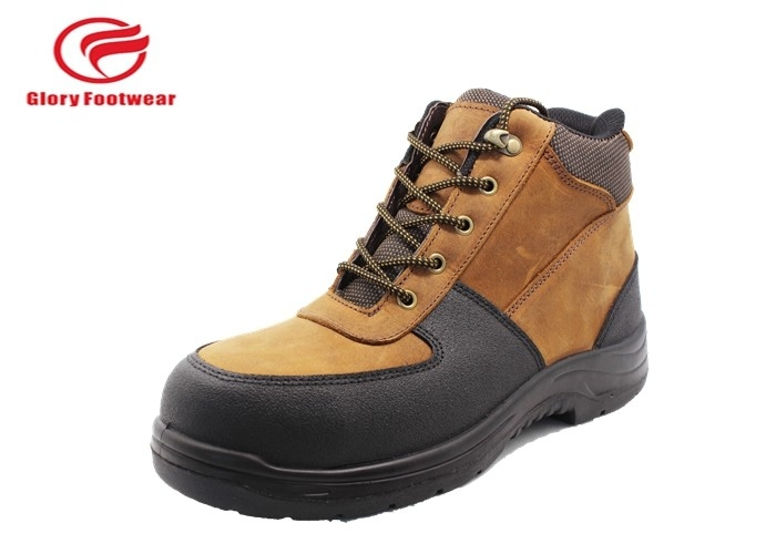 Casual  Ankle Leather Safety Shoes Tan With Black , Winter Waterproof High Top Safety Boots