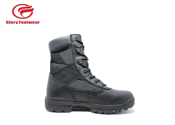 Long Black Leather Military Combat Boots , Winter Lightweight Waterproof Military Boots